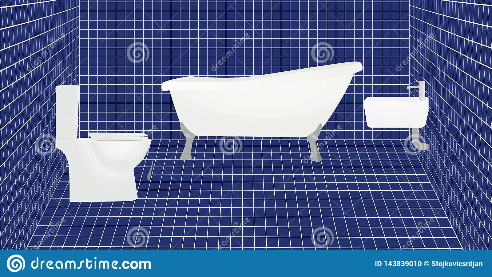 Bathroom With Blue Tiles Stock Vector Illustration Of Tiles