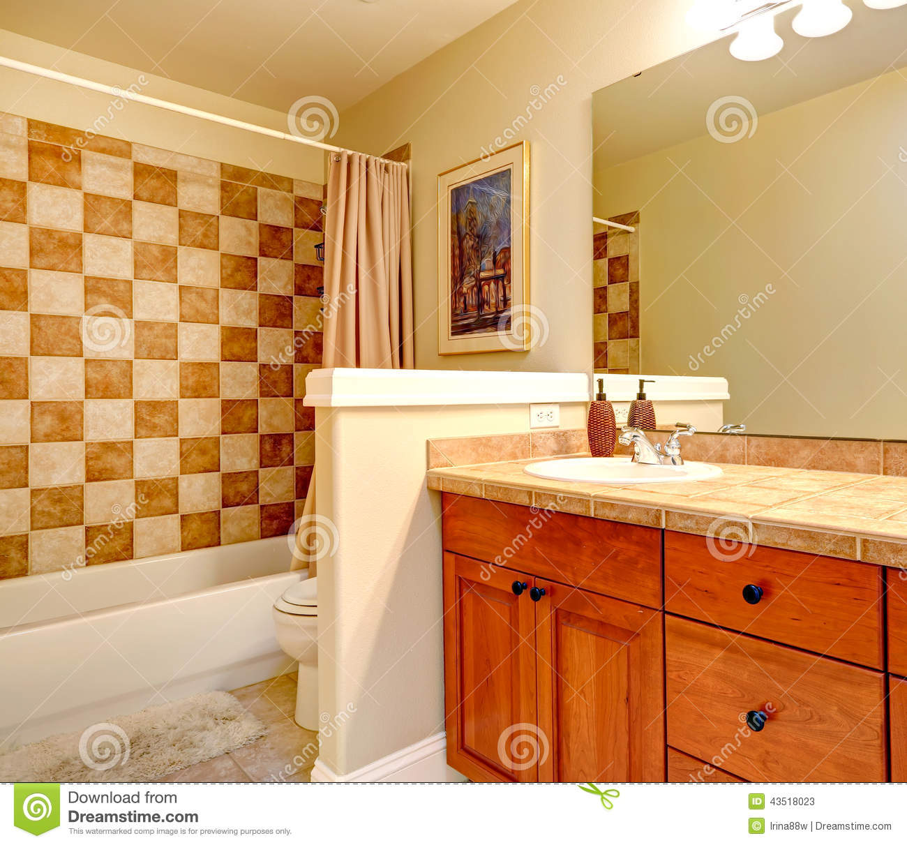 Finished Basement Bathroom Pictures: Bathroom With Checker Board Style Wall Trim Stock Photo