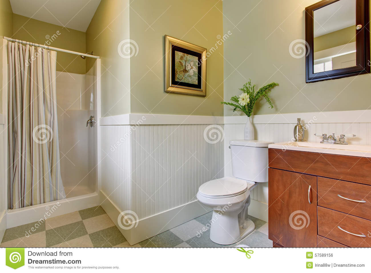 Bathroom With Checkered Tile Floor And Green White Walls