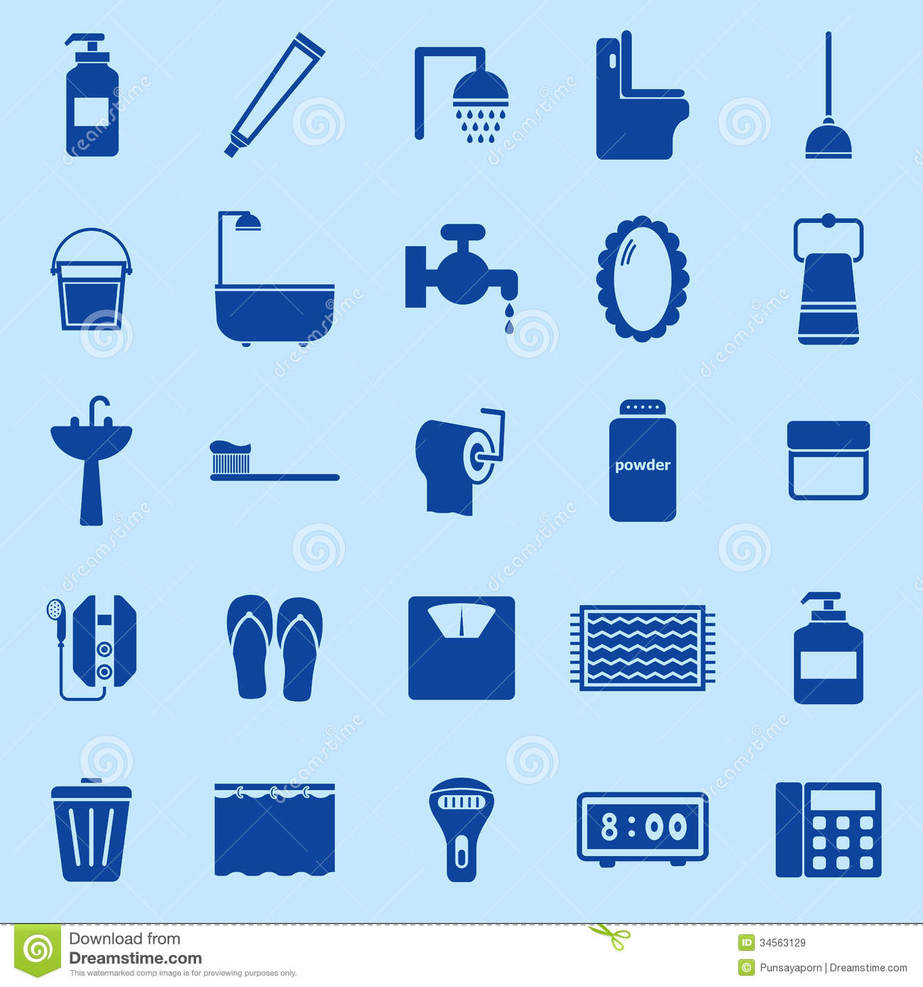 Bathroom Color Icons On Blue Background Royalty Free Stock