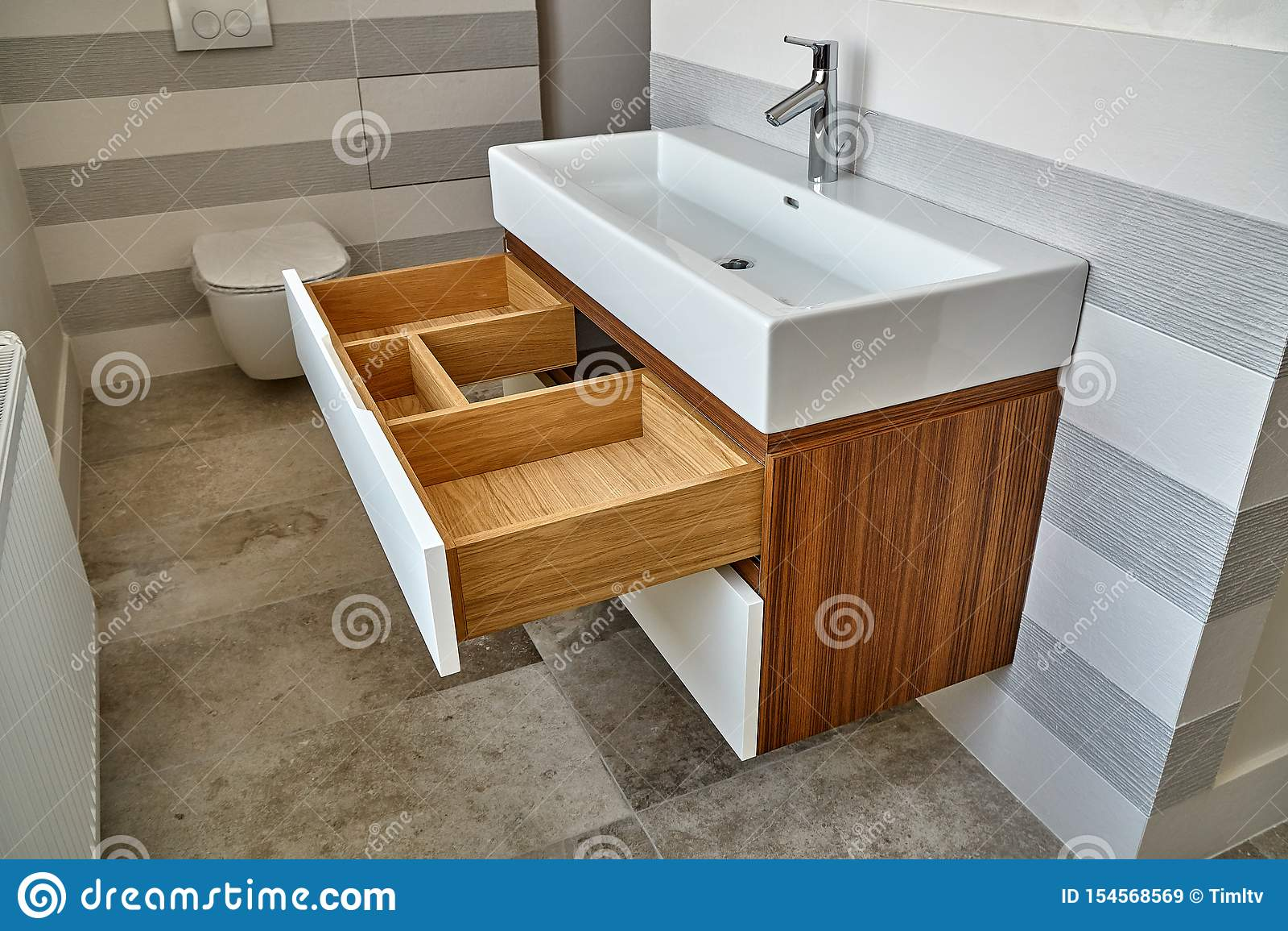 Wall Mounted Bathroom Vanity In Luxury Bathroom Stylish Interior Of Modern Bathroom Details Furniture Stock Image Image Of Luxury Veneer 154568569