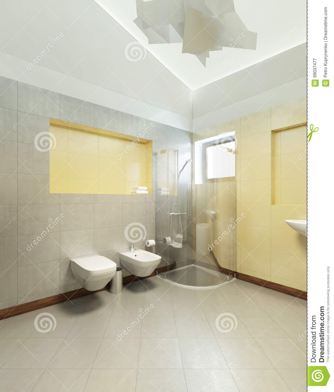 Bathroom In Contemporary Style. Bathroom With Gray And Yellow Ti ...