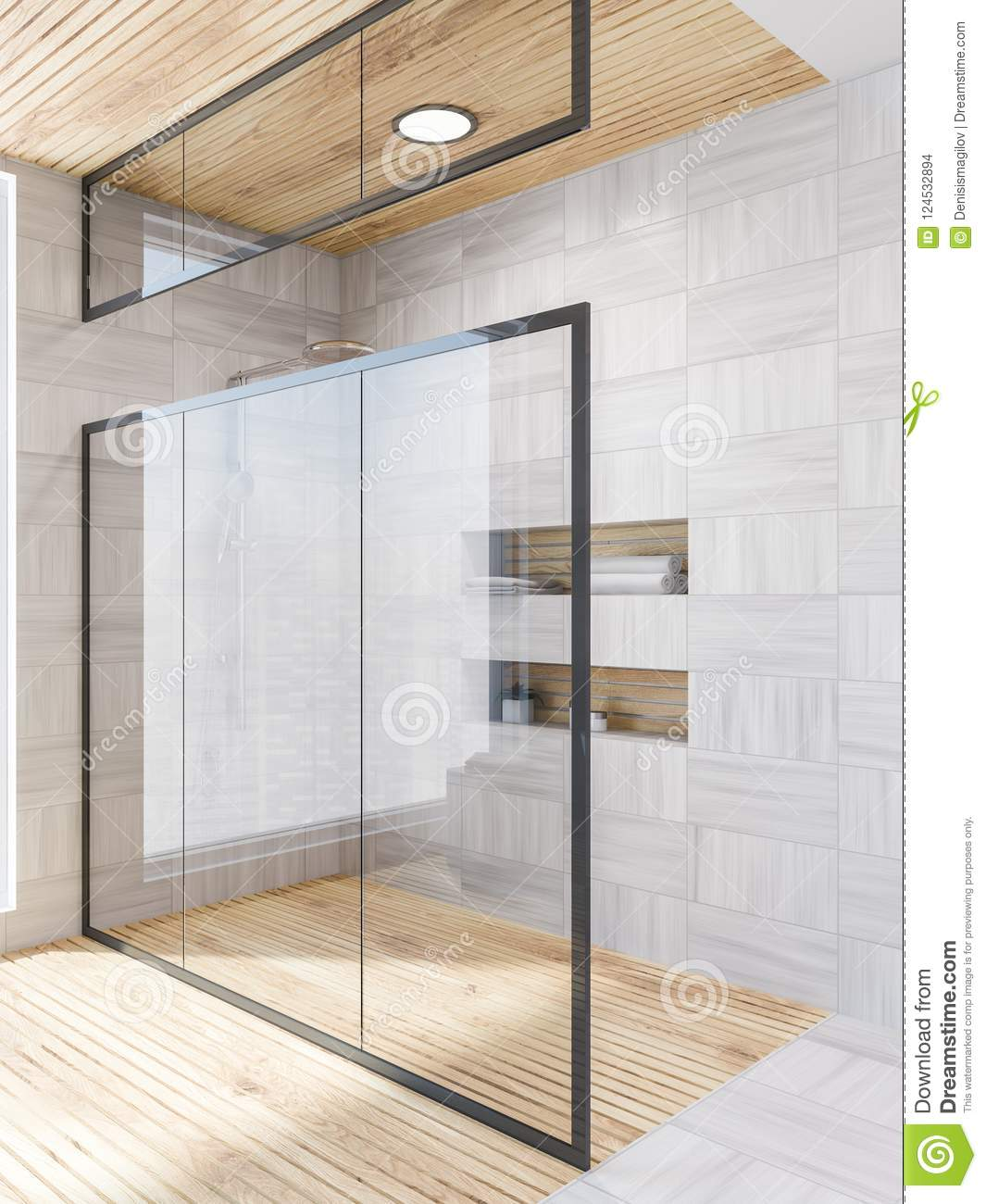 White Wood Bathroom Corner, Shower Glass Door Stock