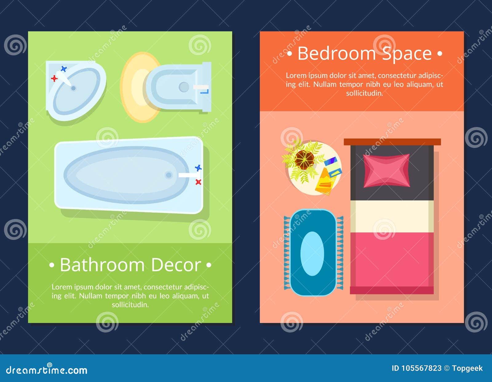 Bathroom Decor Bedroom Space Vector Illustration Stock Vector ...
