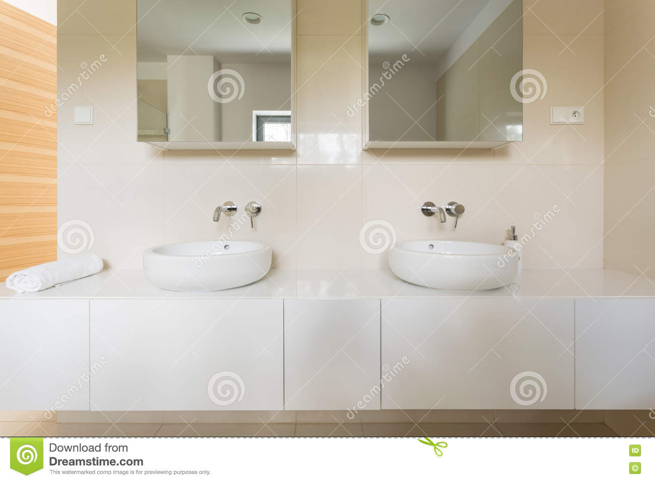 Bathroom designed for two stock image. Image of lifestyle - 78565109