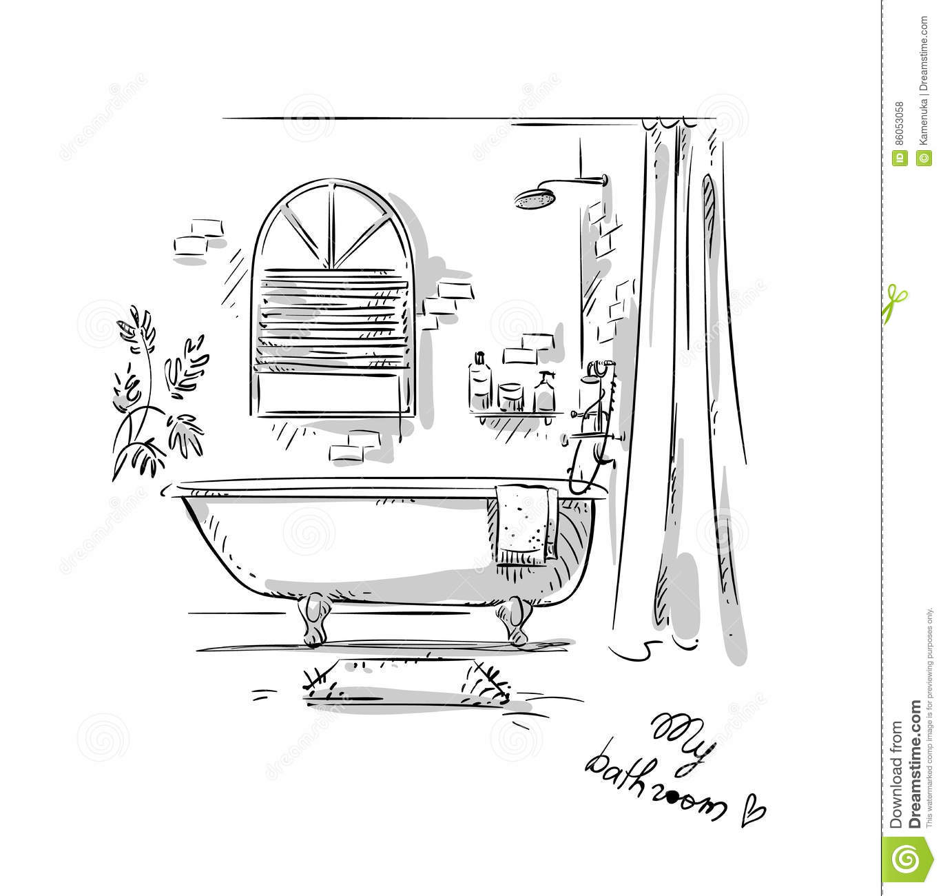 Bathroom Drawing, Interior Design. Stock Vector - Image: 86053058