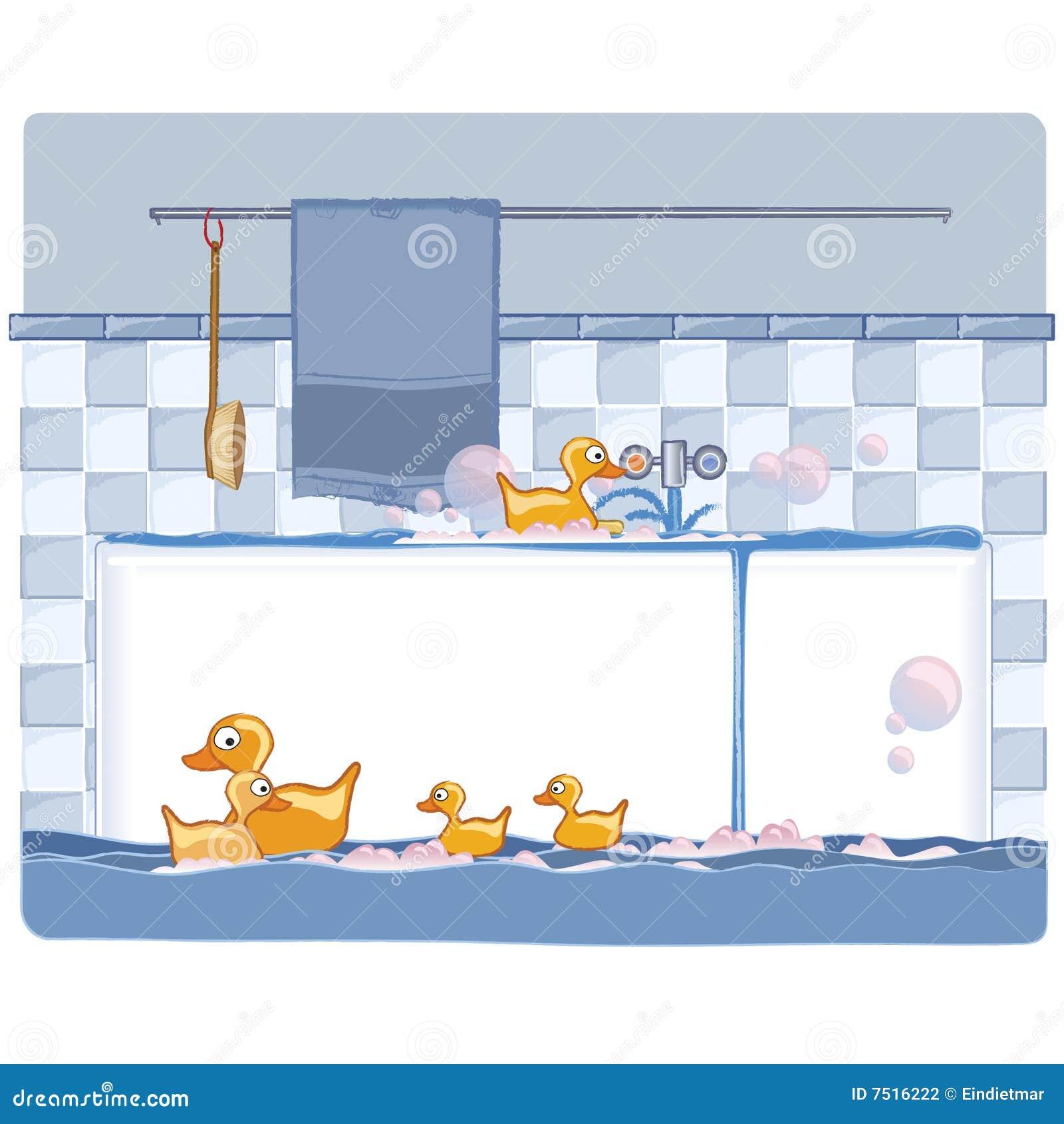 Bathroom with ducks stock illustration illustration of for Badezimmer clipart