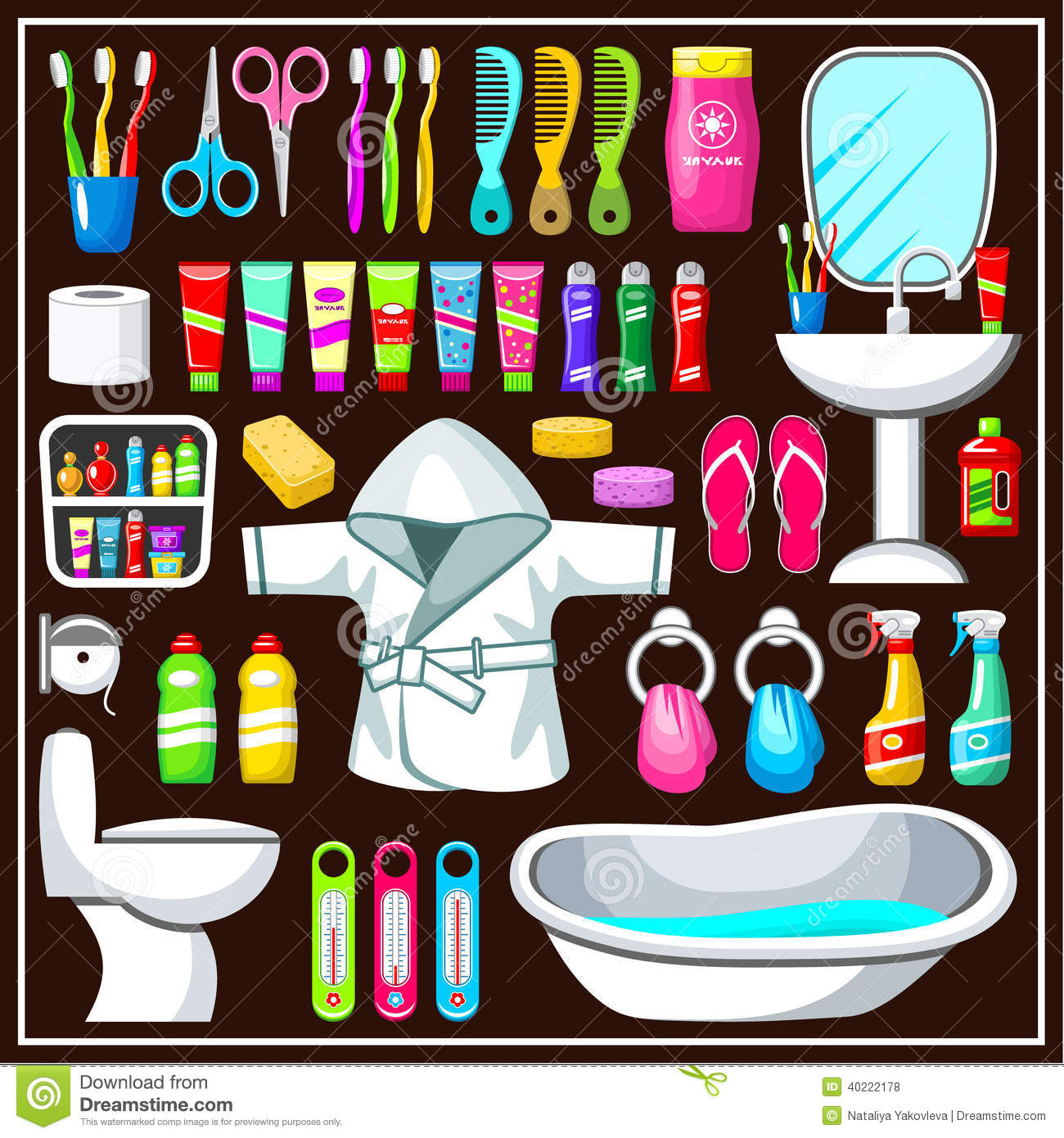bathroom equipment set stock vector illustration of bowl