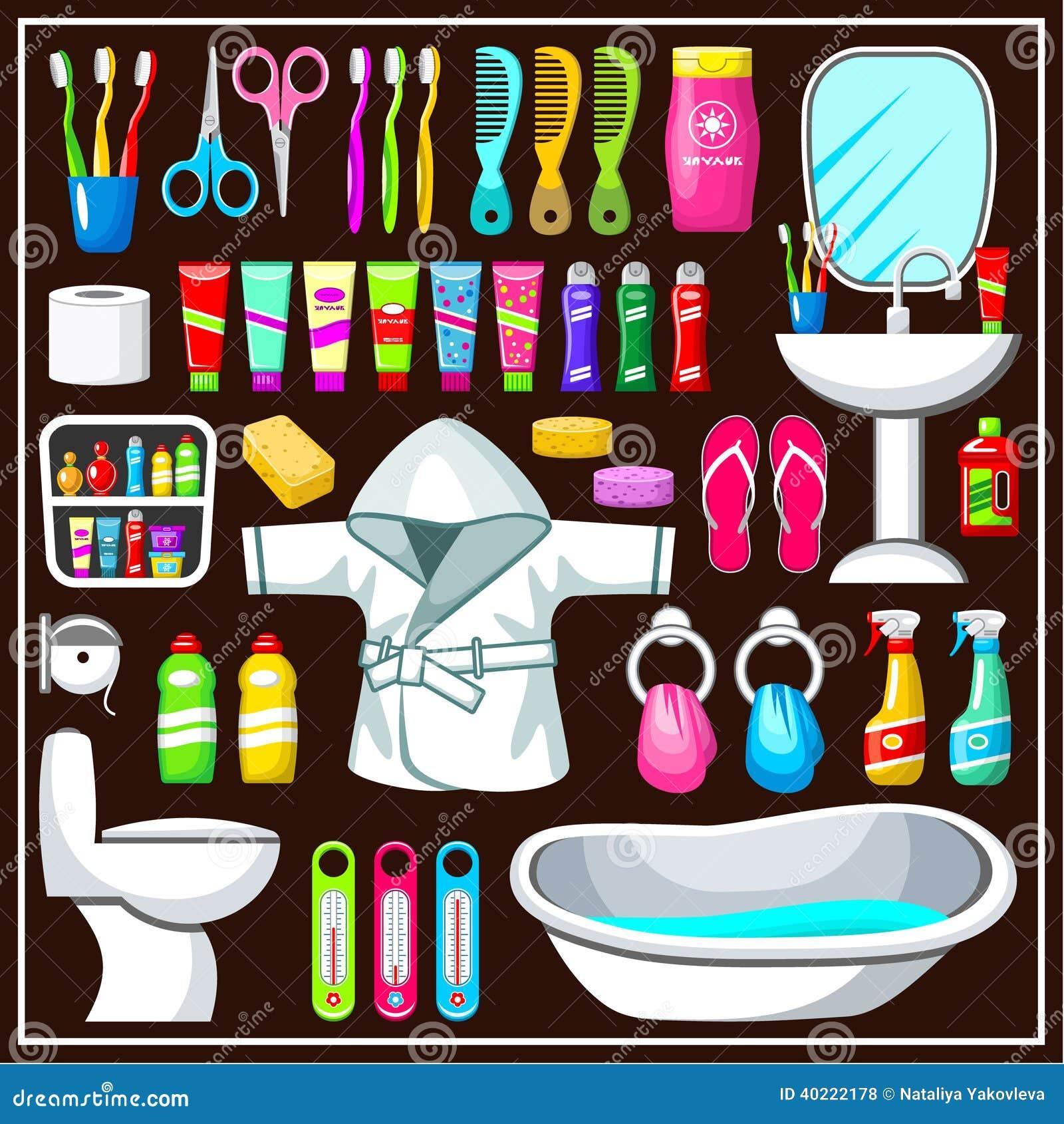 bathroom equipment set stock vector illustration of bowl