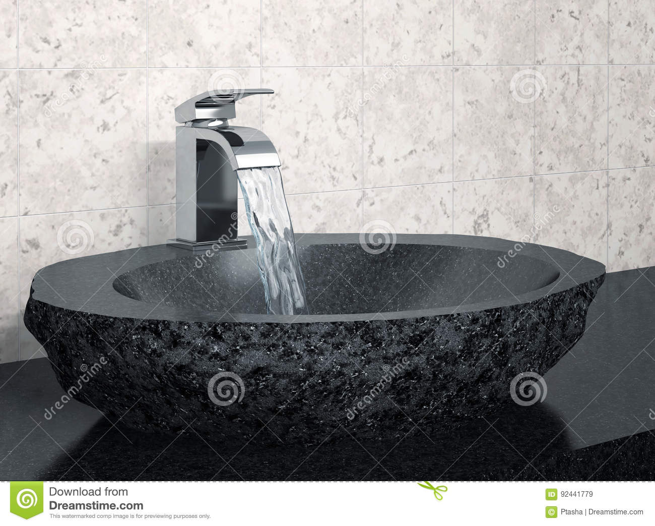 Bathroom Faucet And Black Stone Sink Stock Illustration ...