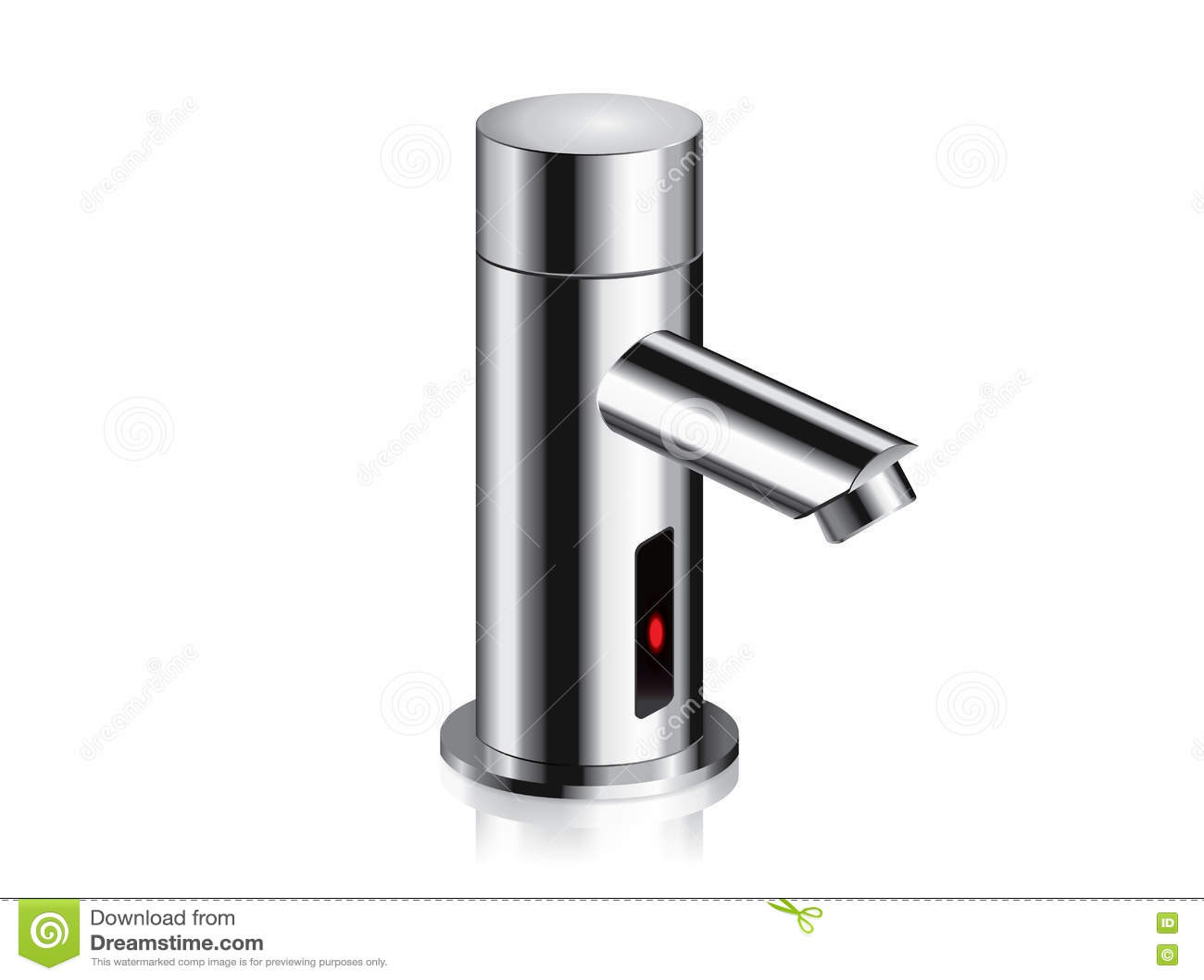 Bathroom Faucet Chrome Powered Automatic By Sensor. Stock Vector ...