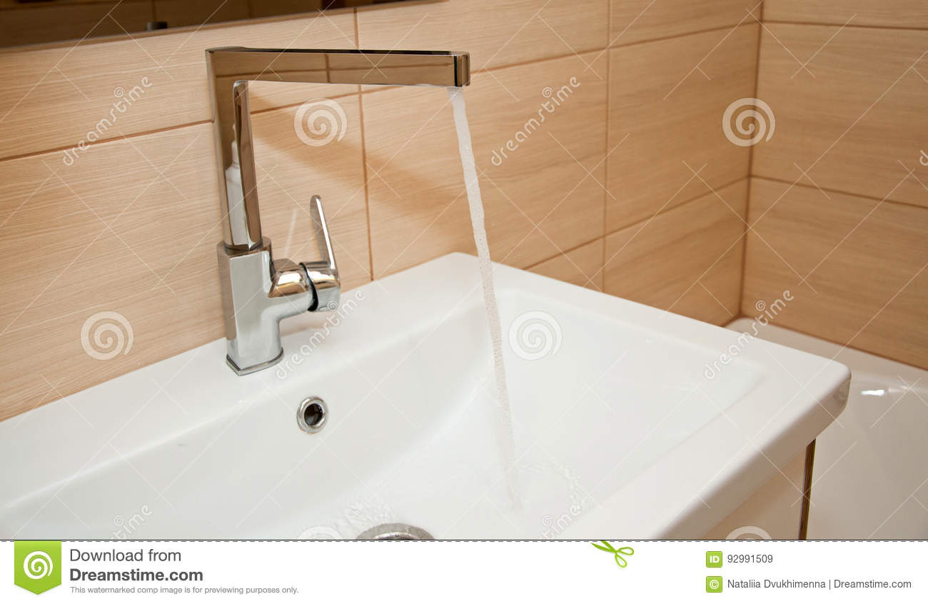 Bathroom Faucet With Flowing Water Stock Image - Image of domestic ...