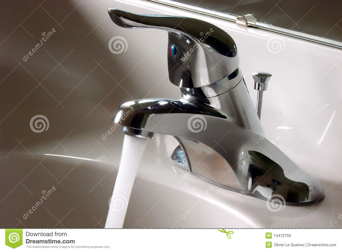 Bathroom Faucet Open And Running With Water Flow Stock Photo - Image ...