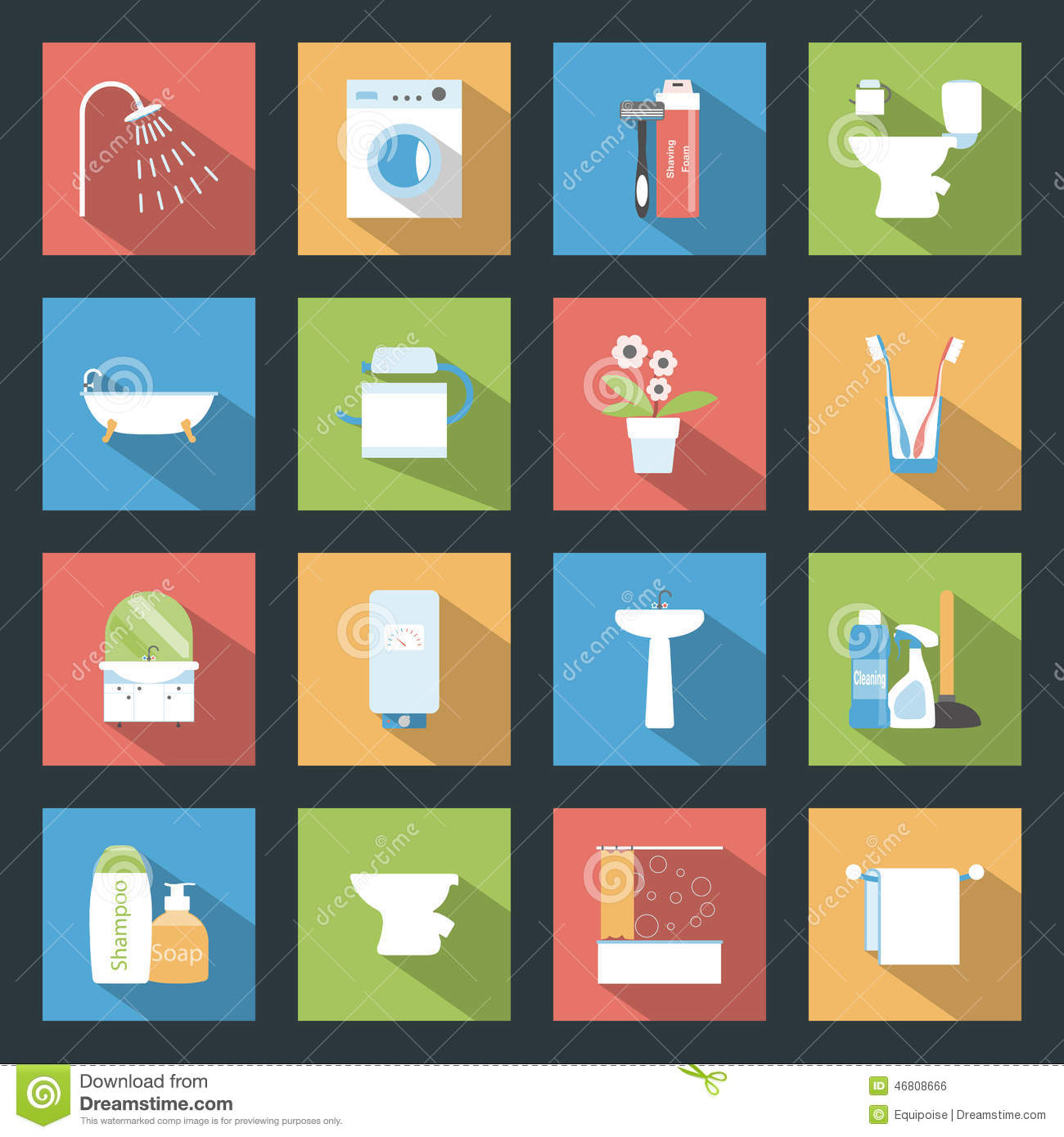 Bathroom Flat Icons Set Stock Vector Image Of Detergent