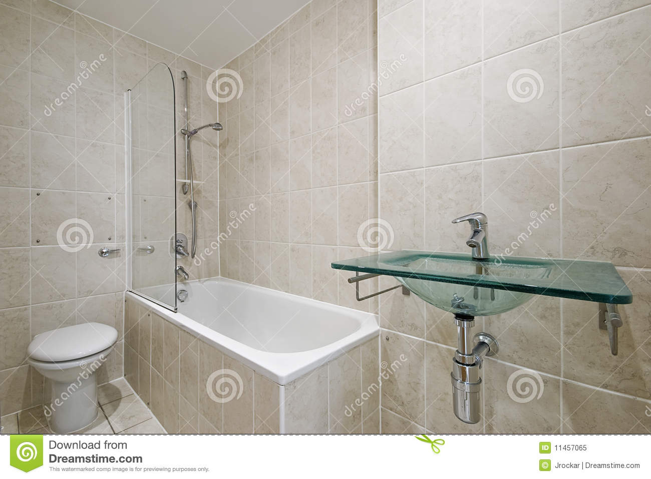 Bathroom With Floor To Ceiling Tiles Royalty Free Stock Photo Image 11457065