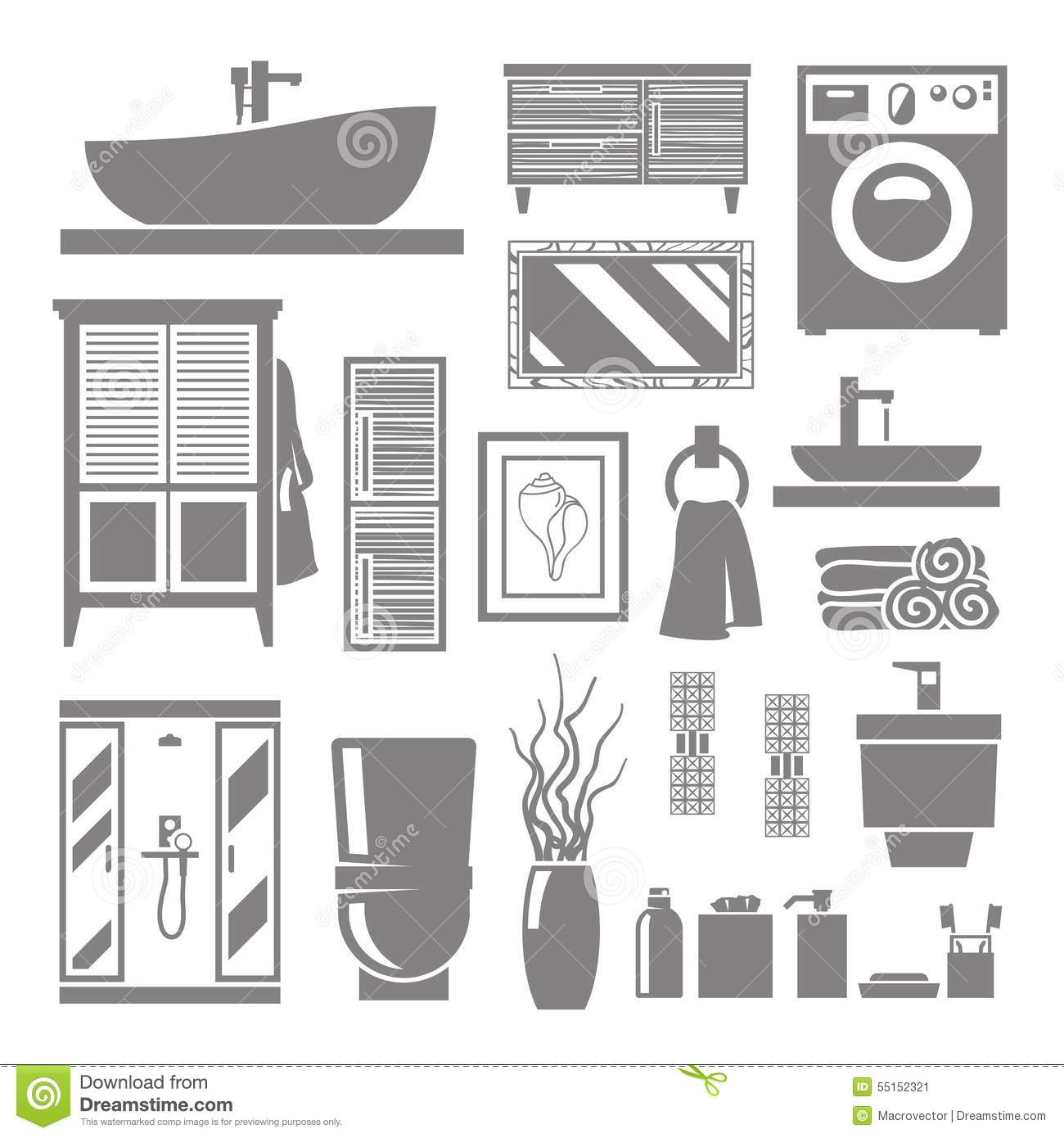 Download Bathroom Furniture Icons Stock Vector Illustration Of Flat