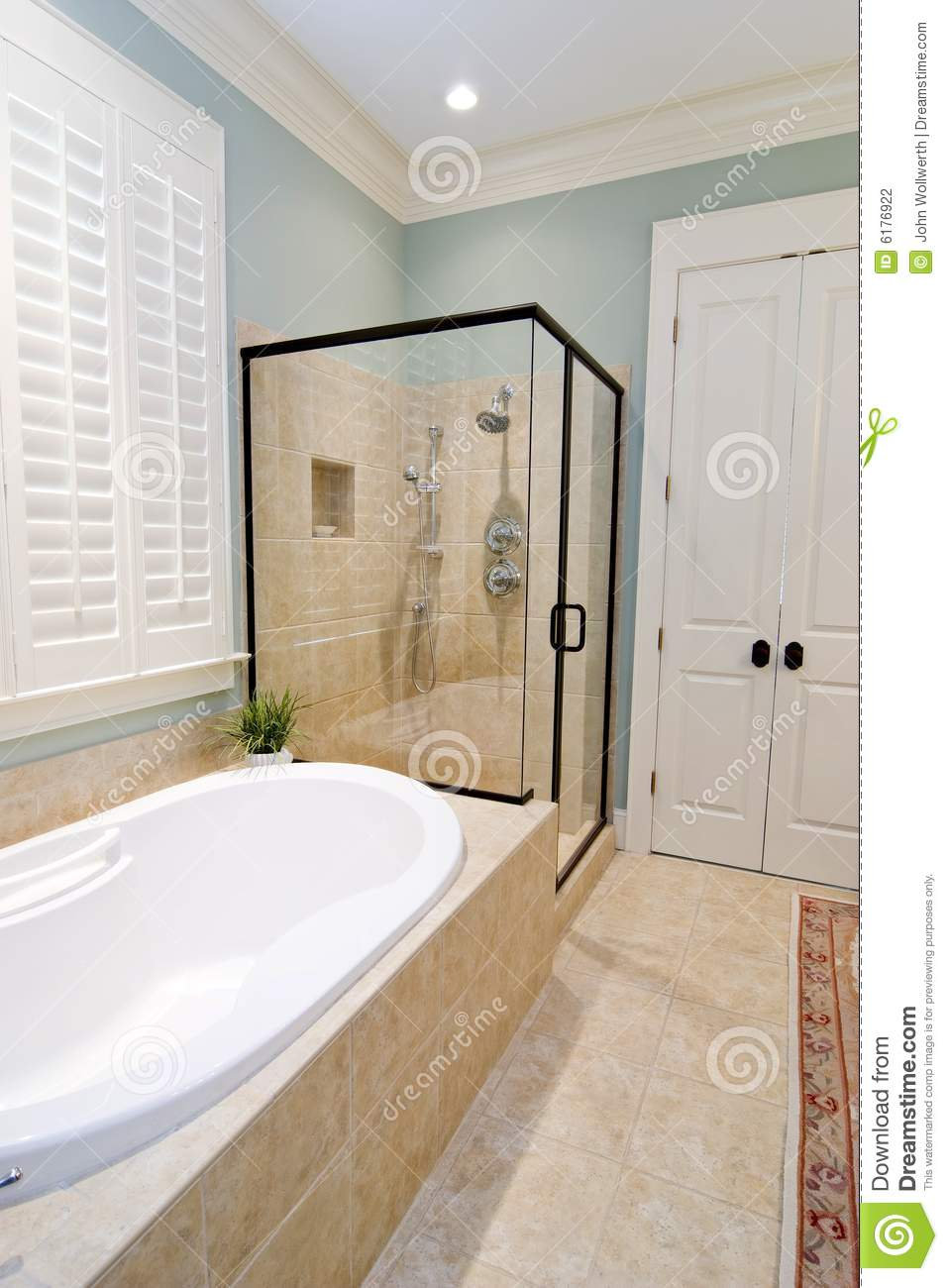 Bathroom with glass shower and tub stock photography image 6176922 Bathroom tile showers