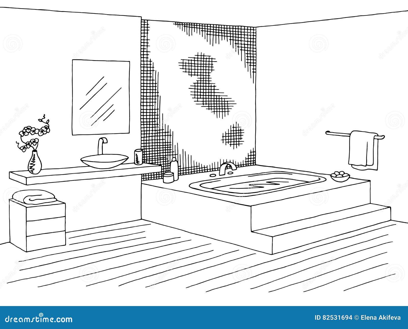Bathroom Graphic Interior Black White Sketch Illustration
