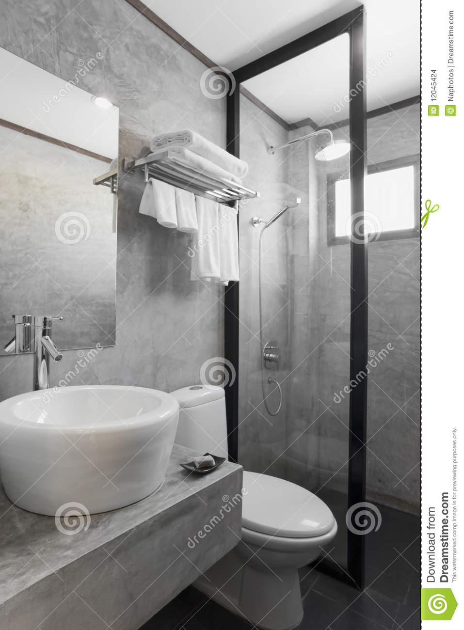 Bathroom With Gray Cement Wall Stock Photo Image 12045424