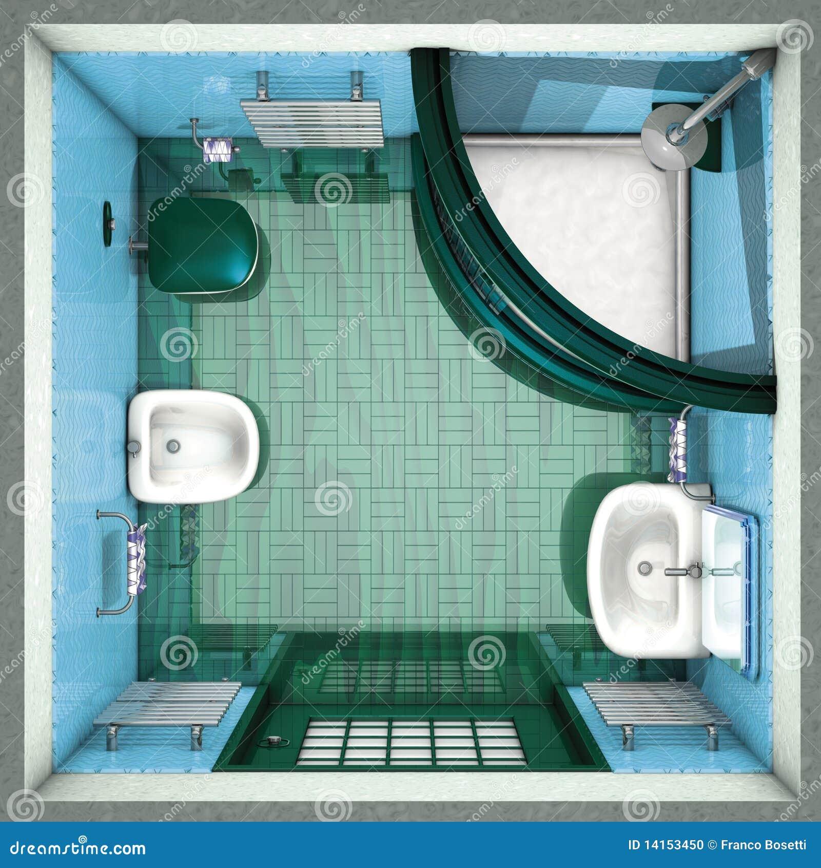 Bathroom green top stock illustration. Illustration of inside - 14153450