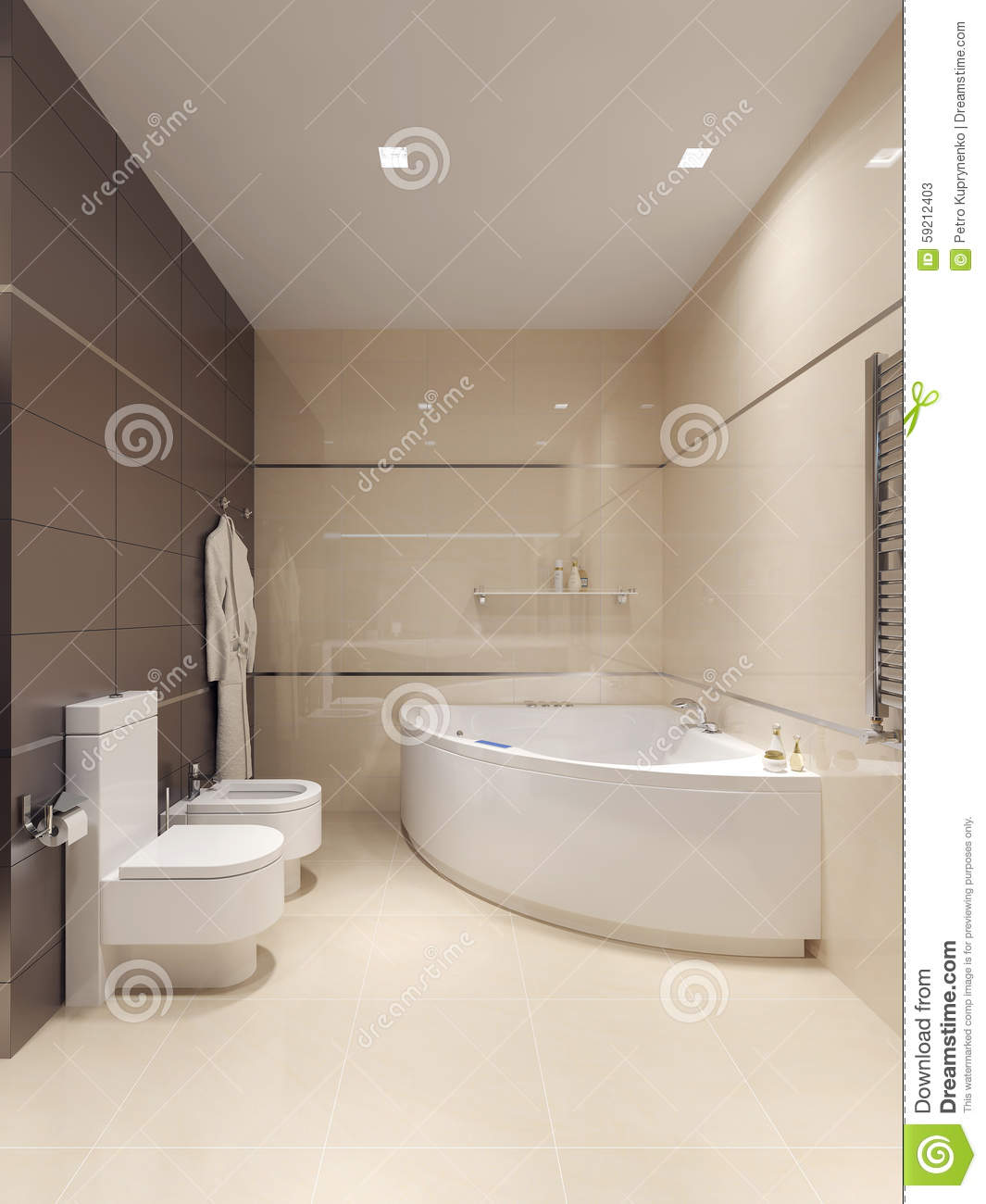 bathroom in high tech style stock illustration