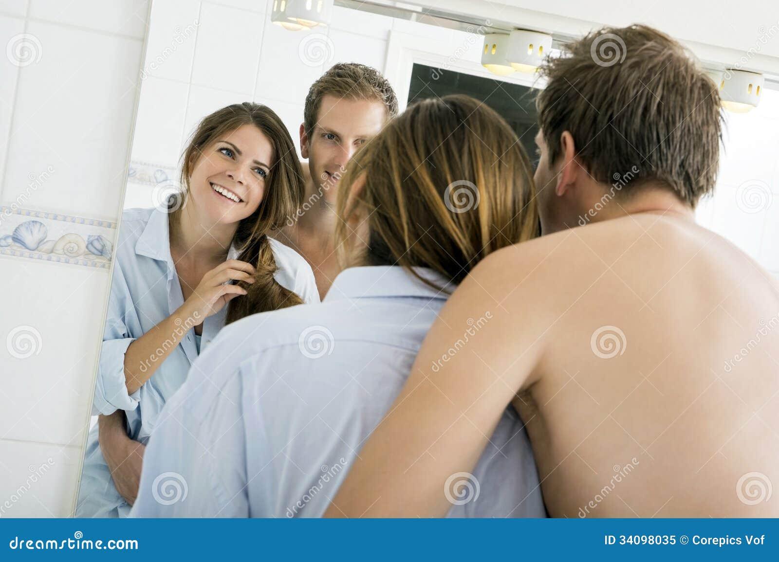 Bathroom Hug Stock Image Of Horizontal Looking