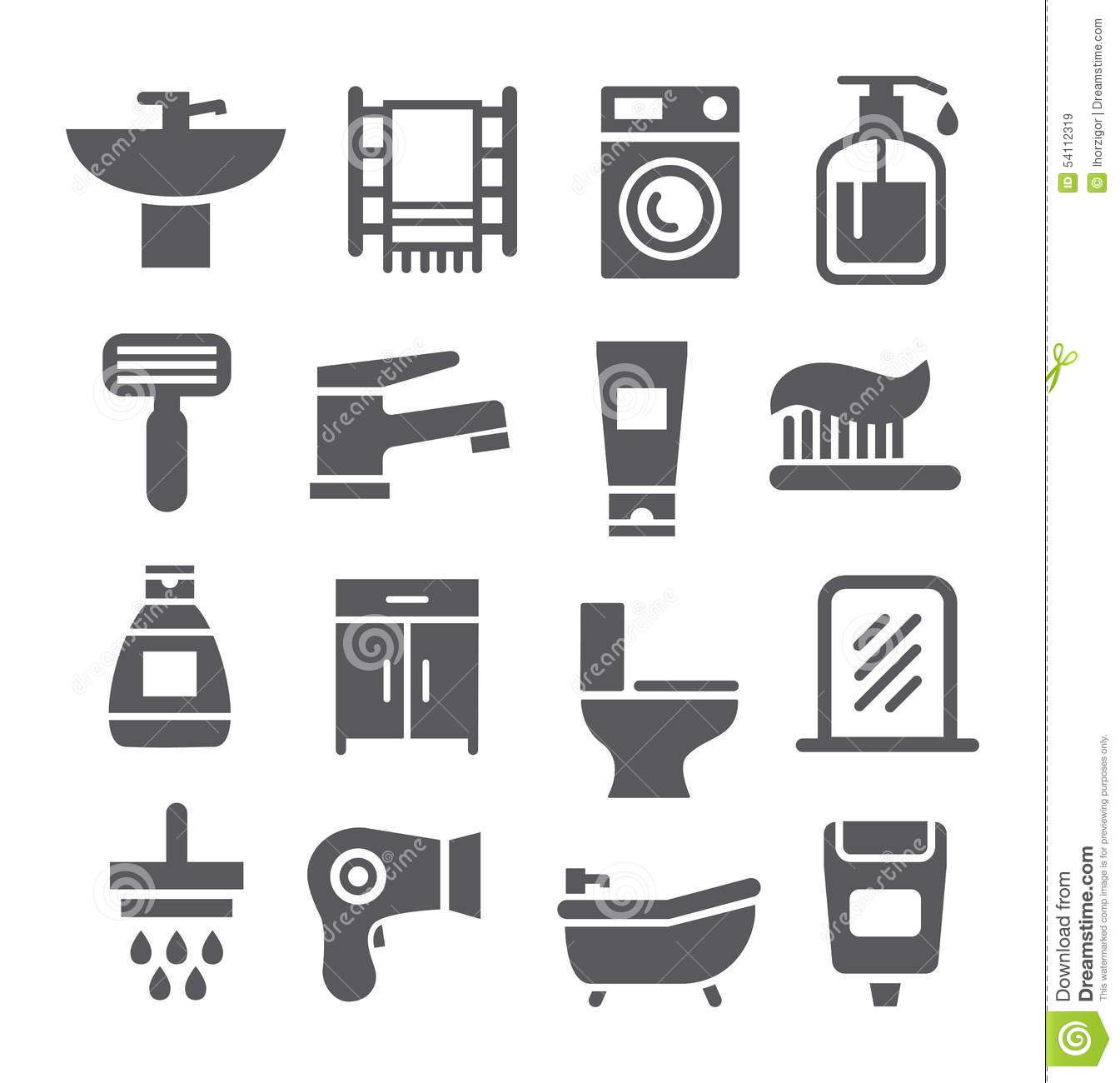 bathroom icon set stock vector image 54112319