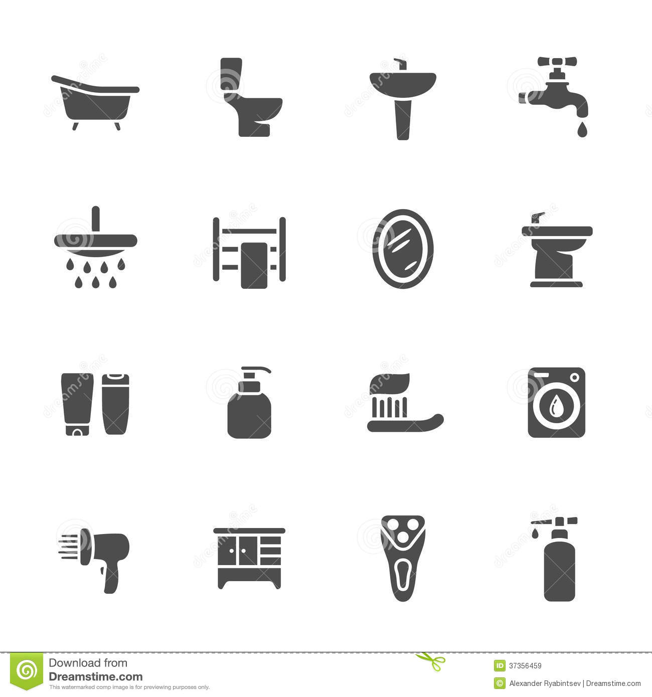 Bathroom Icon Set Stock Illustration Image Of