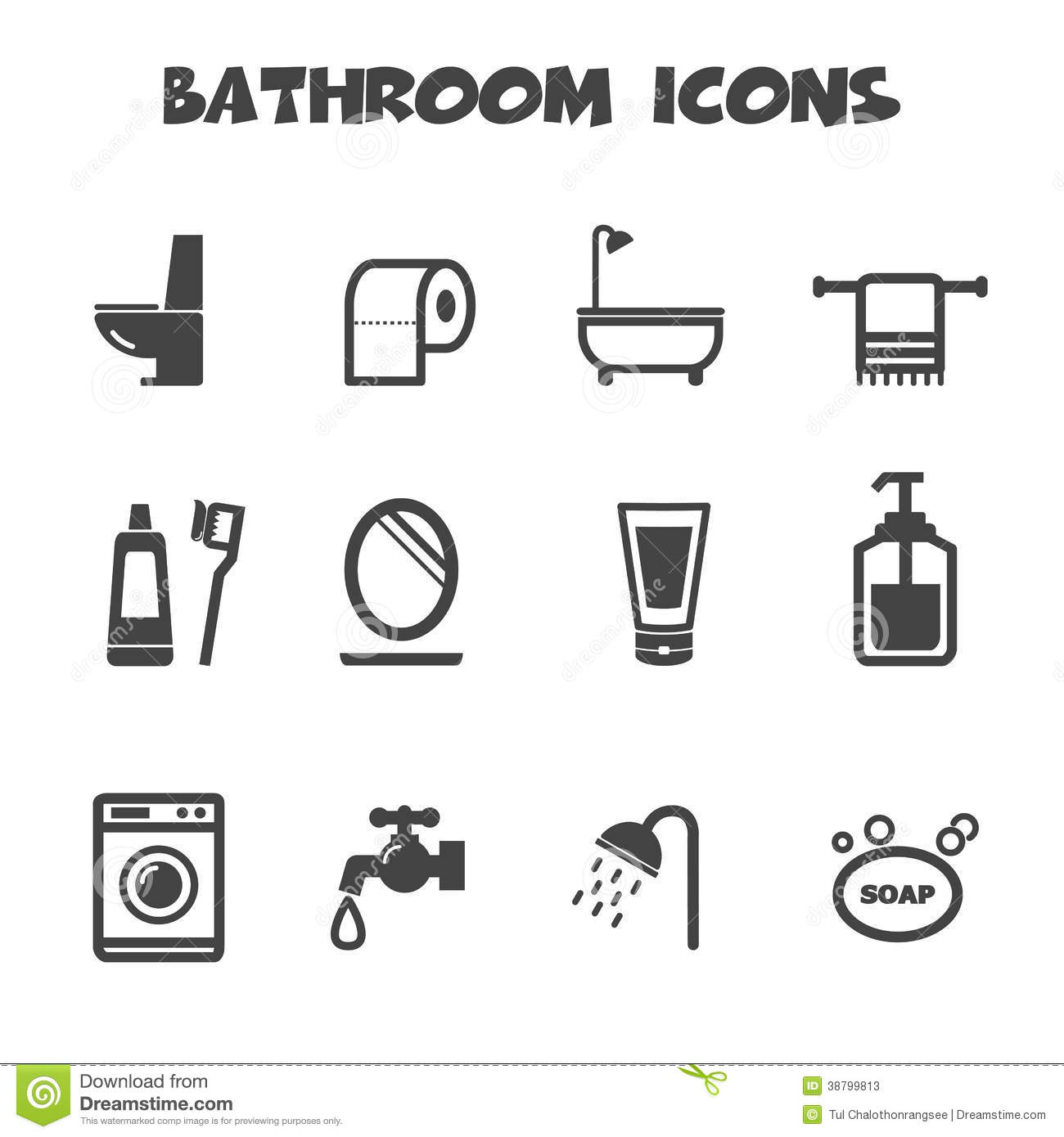 bathroom icons stock vector image 38799813