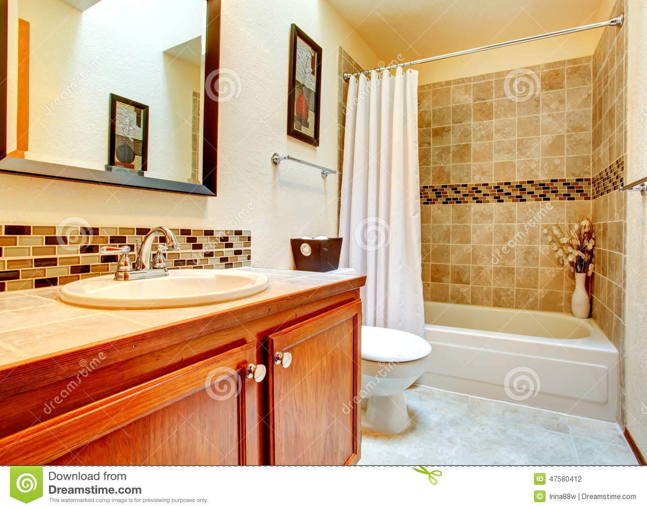 Bathroom Interior With Beige Tile Wall Trim Stock Photo Image 47580412