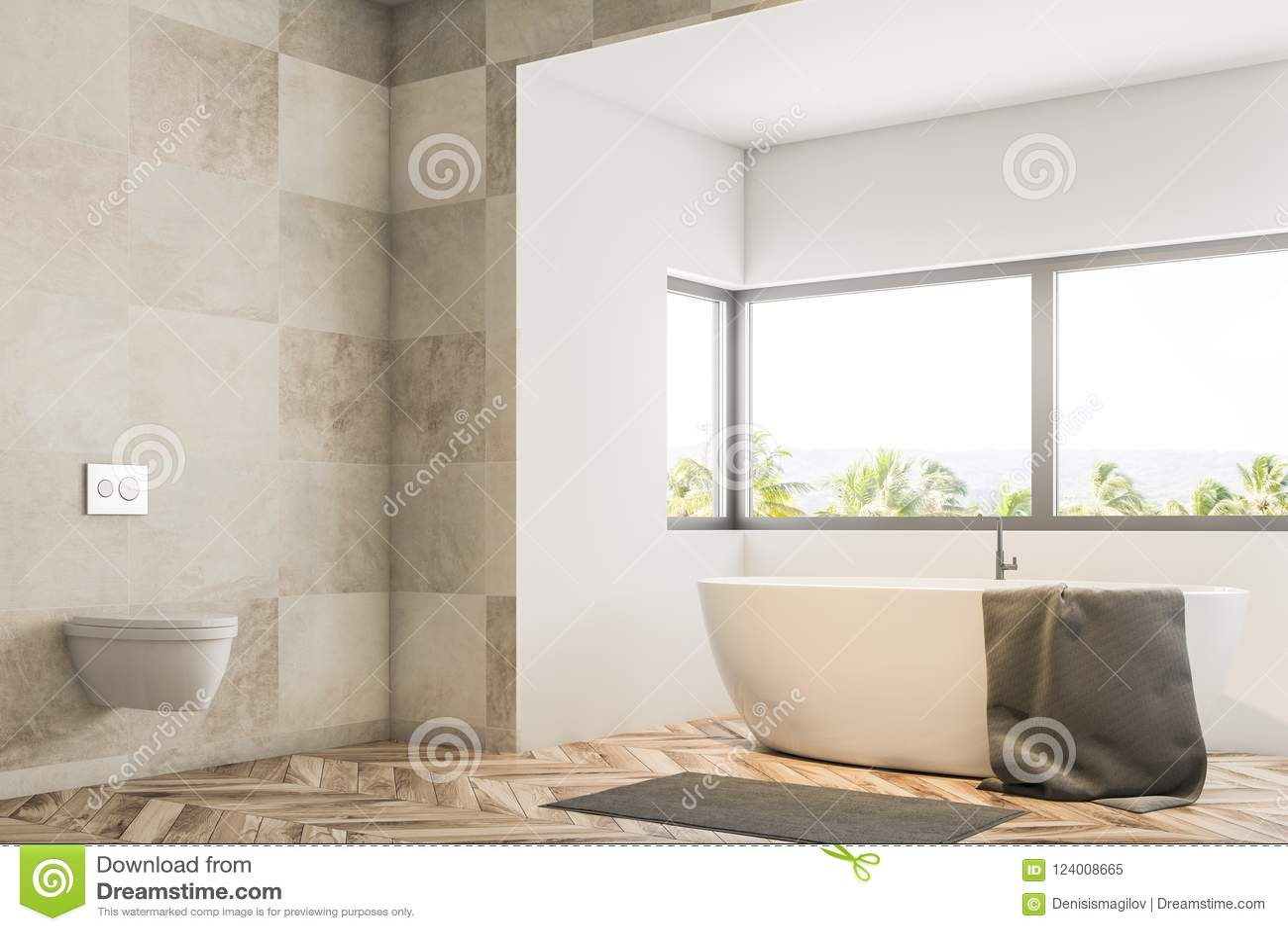 White Tile Bathroom Corner, Tub And Sink Stock Illustration ...