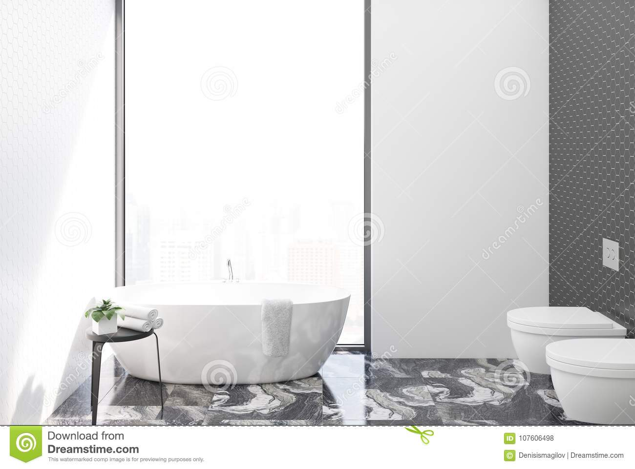 White Tiled Bathroom And Toilet Stock Illustration - Illustration of ...