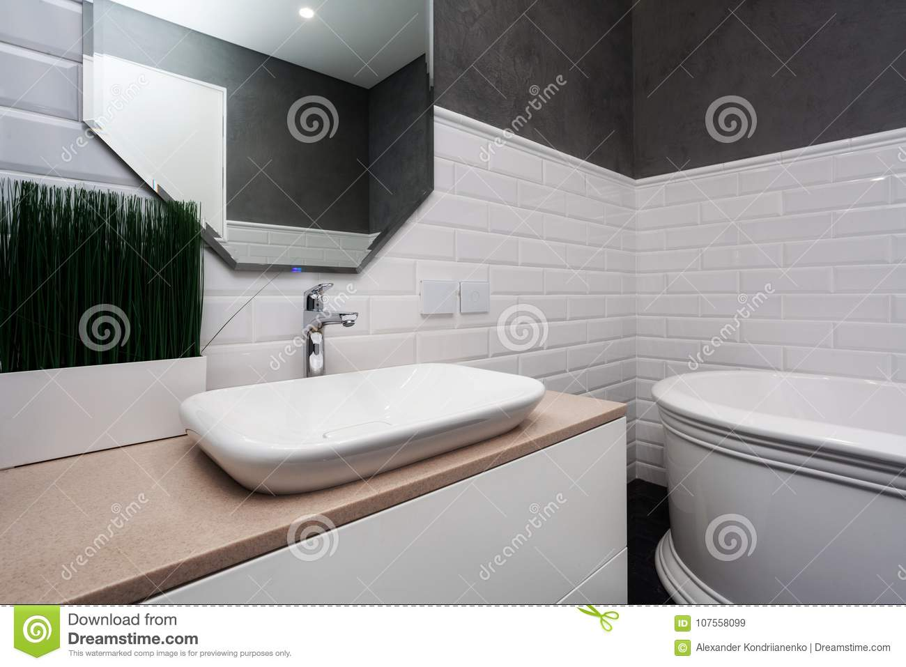 Bathroom Interior. Bright Bathroom With New Tiles. New Washbasin ...