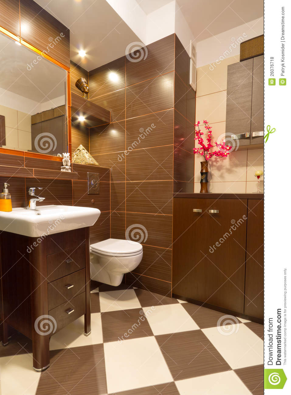 Bathroom Interior With Brown And Beige Tiles Royalty Free