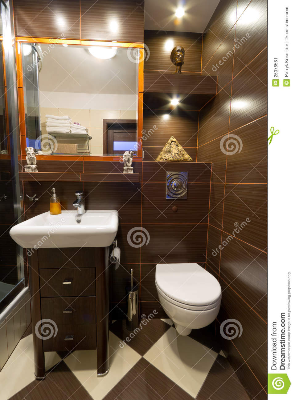 Bathroom interior with brown tiles stock image image - Smart tiles chez leroy merlin ...