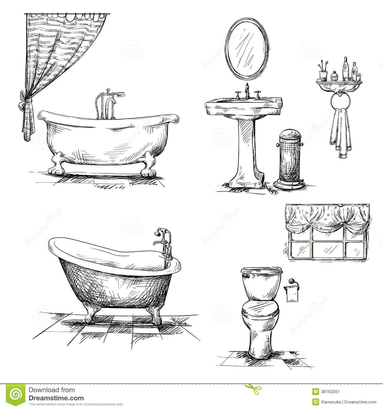 Bathroom Interior Elements. Hand Drawn. Bathtub, T Stock