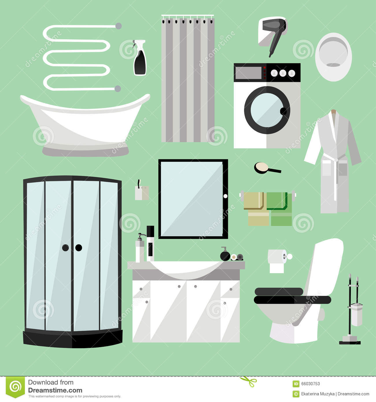Beau Bathroom Interior Furniture. Vector Illustration In Flat Style. Design  Elements, Bathtub, Washing Machine