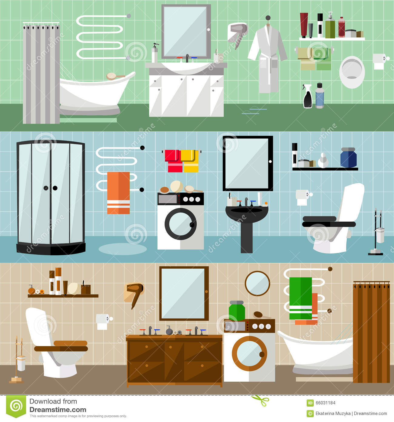 Bathroom Interior With Furniture. Vector Illustration In Flat Style. Design  Elements, Bathtub, Washing Machine, Shower
