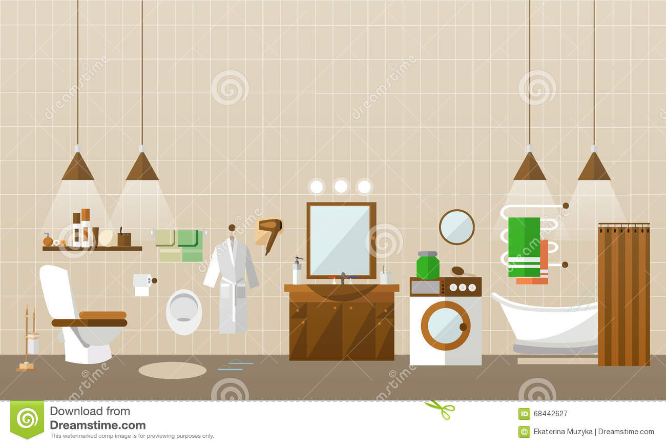 Bathroom Interior With Furniture. Vector Illustration In Flat Style. Design  Elements, Bathtub,