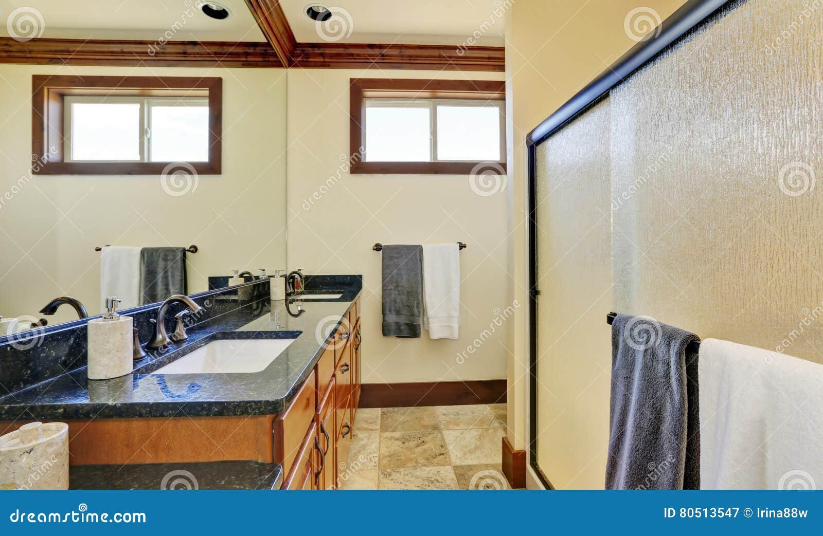 Bathroom Interior With Glass Door Shower Vanity Cabinet Stock Image