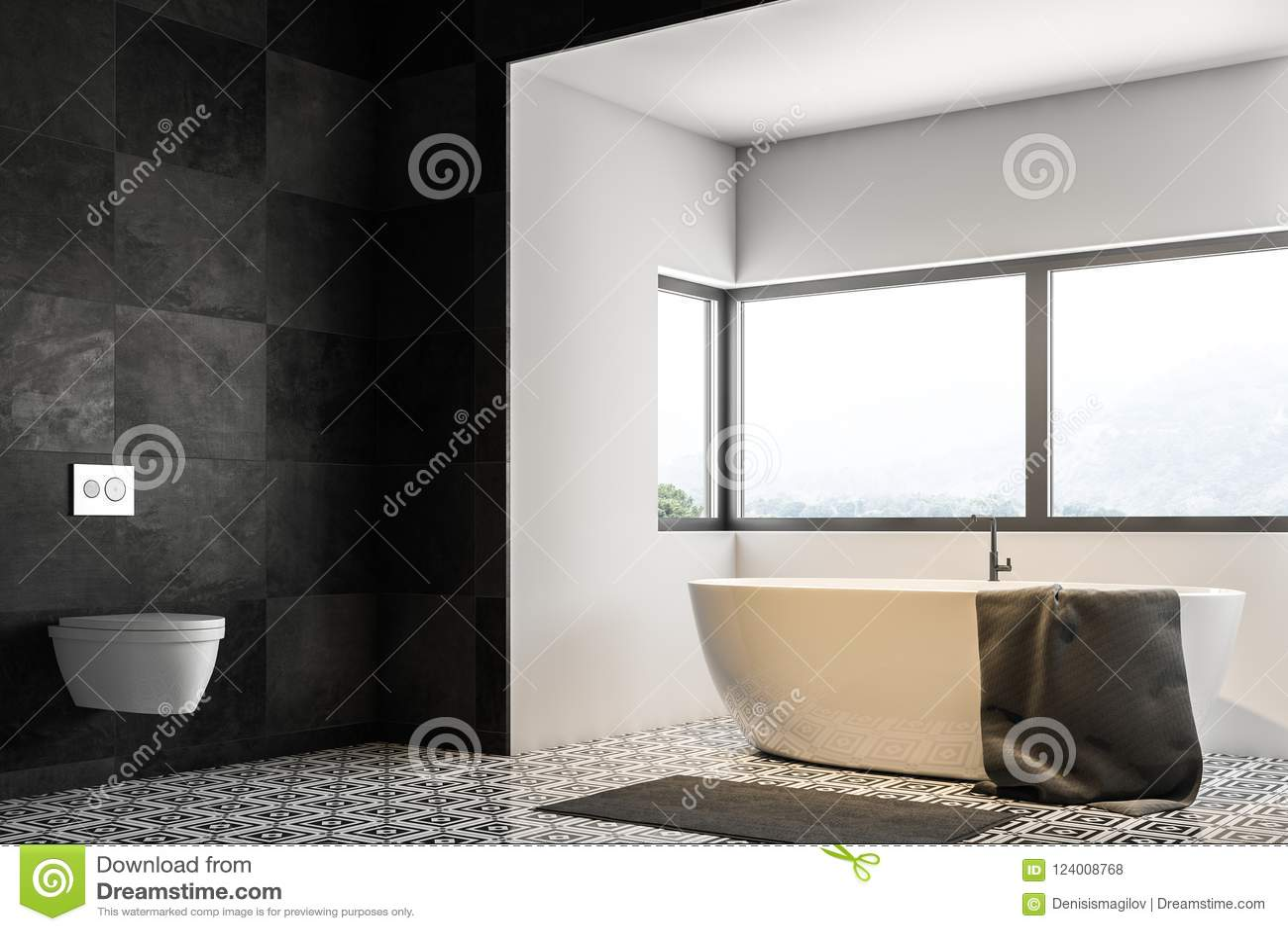 Black Tile Bathroom Corner, Tub And Sink Stock Illustration ...