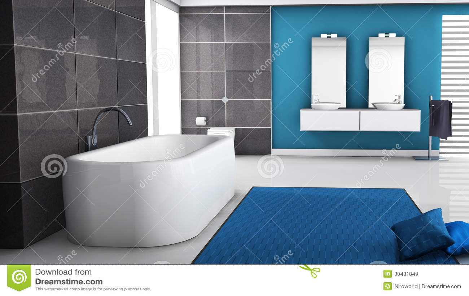 Bathroom Interior stock illustration. Illustration of blue - 30431849