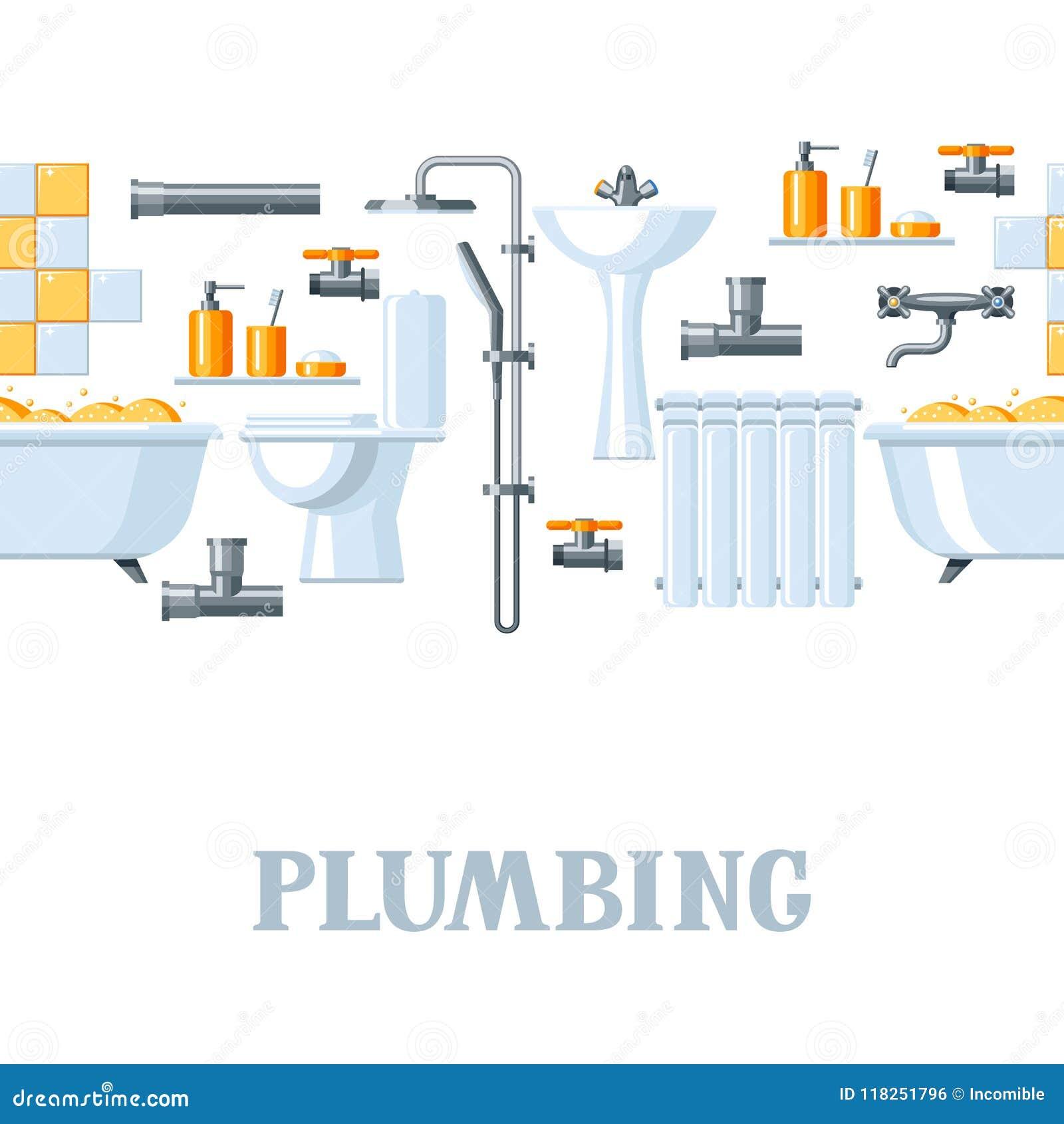 Bathroom Interior. Plumbing Seamless Pattern. Stock Vector ...