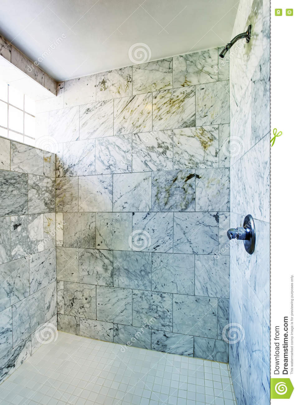 Bathroom Interior. Shower Cabin With Marble Tile And Small Window ...