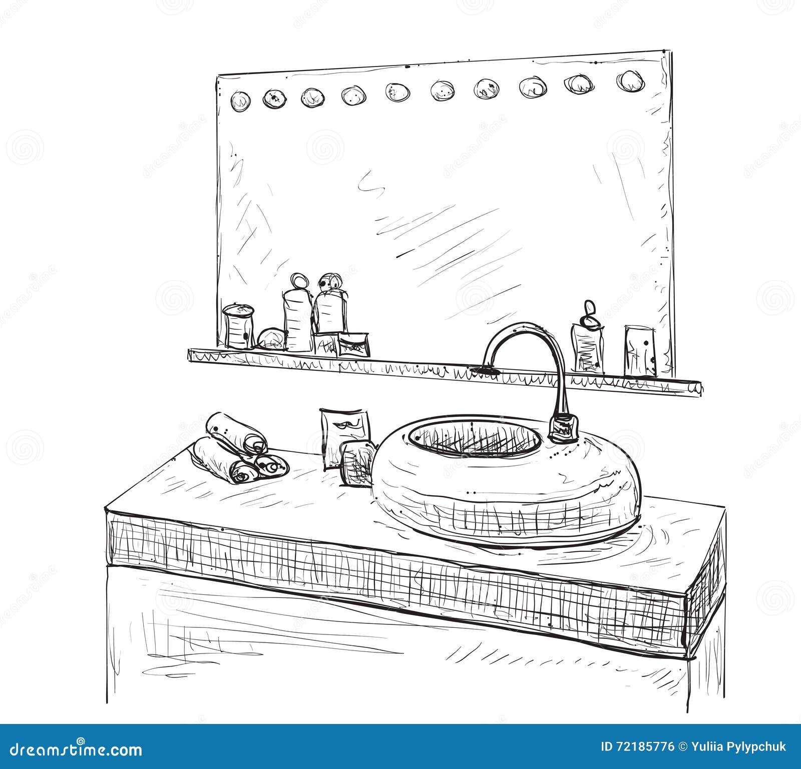 hand mirror sketch. Bathroom Interior Sketch. Washbasin And Mirror. Hand Mirror Sketch