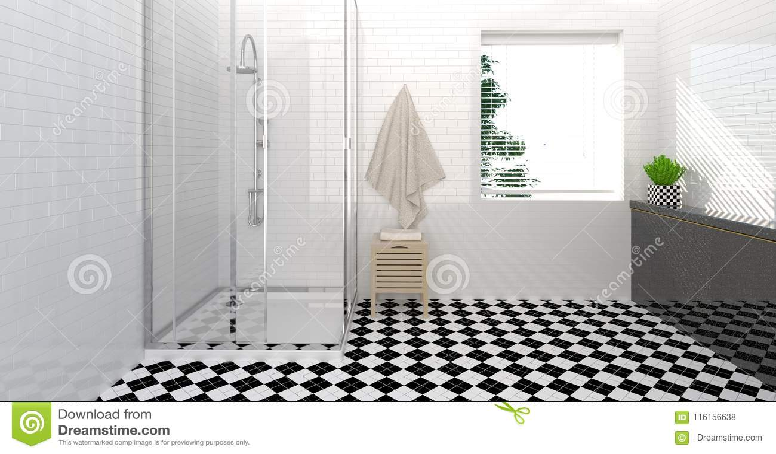 Bathroom Interior,toilet,shower,modern Home Design Clean Wall 3D ...