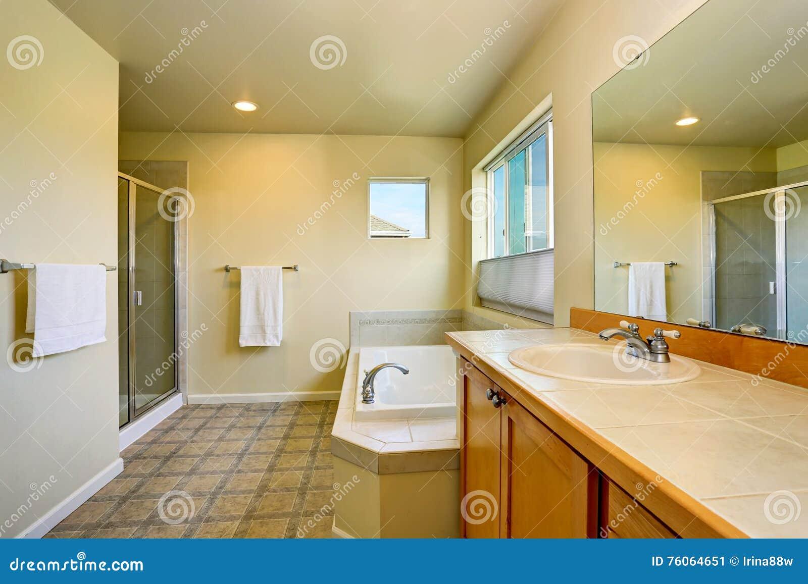 Bathroom Interior With Vanity Cabinet, Big Mirror And White Bath Tub ...