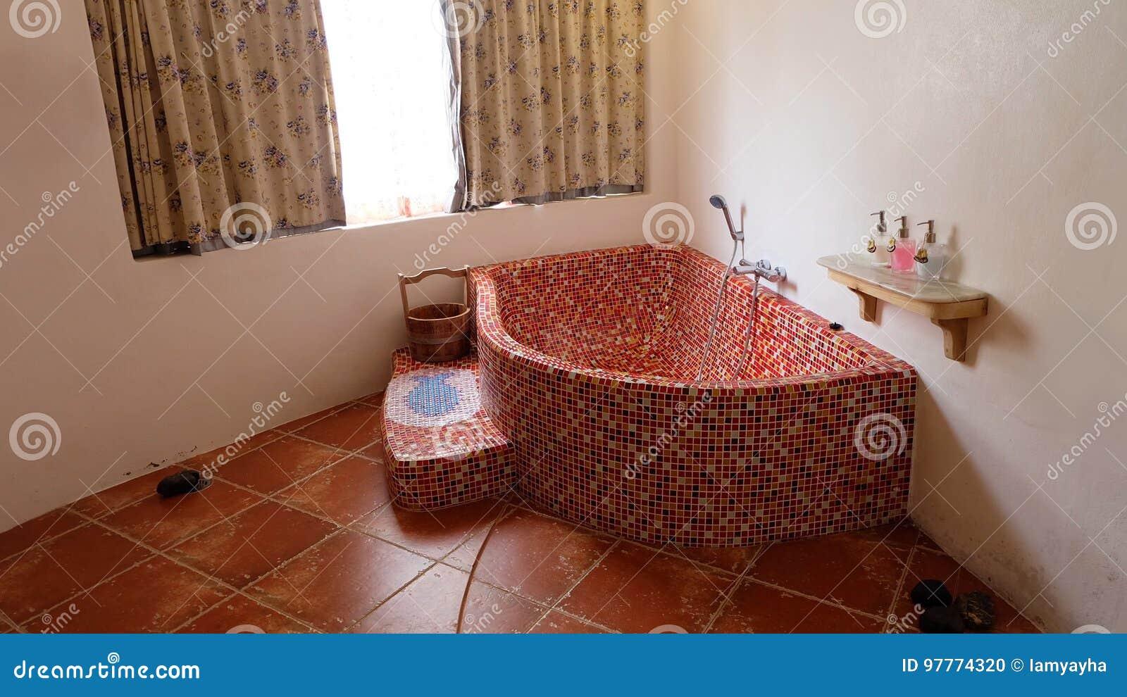 Bathroom Interior In Vintage Bathtub Ceramic With Shower Home Stock ...
