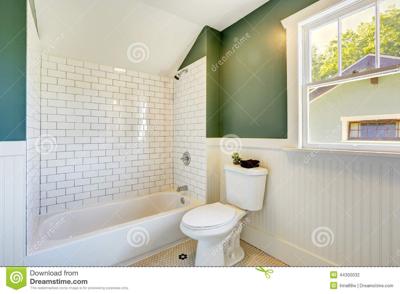 Bathroom Interior With White And Green Wall Trim Stock