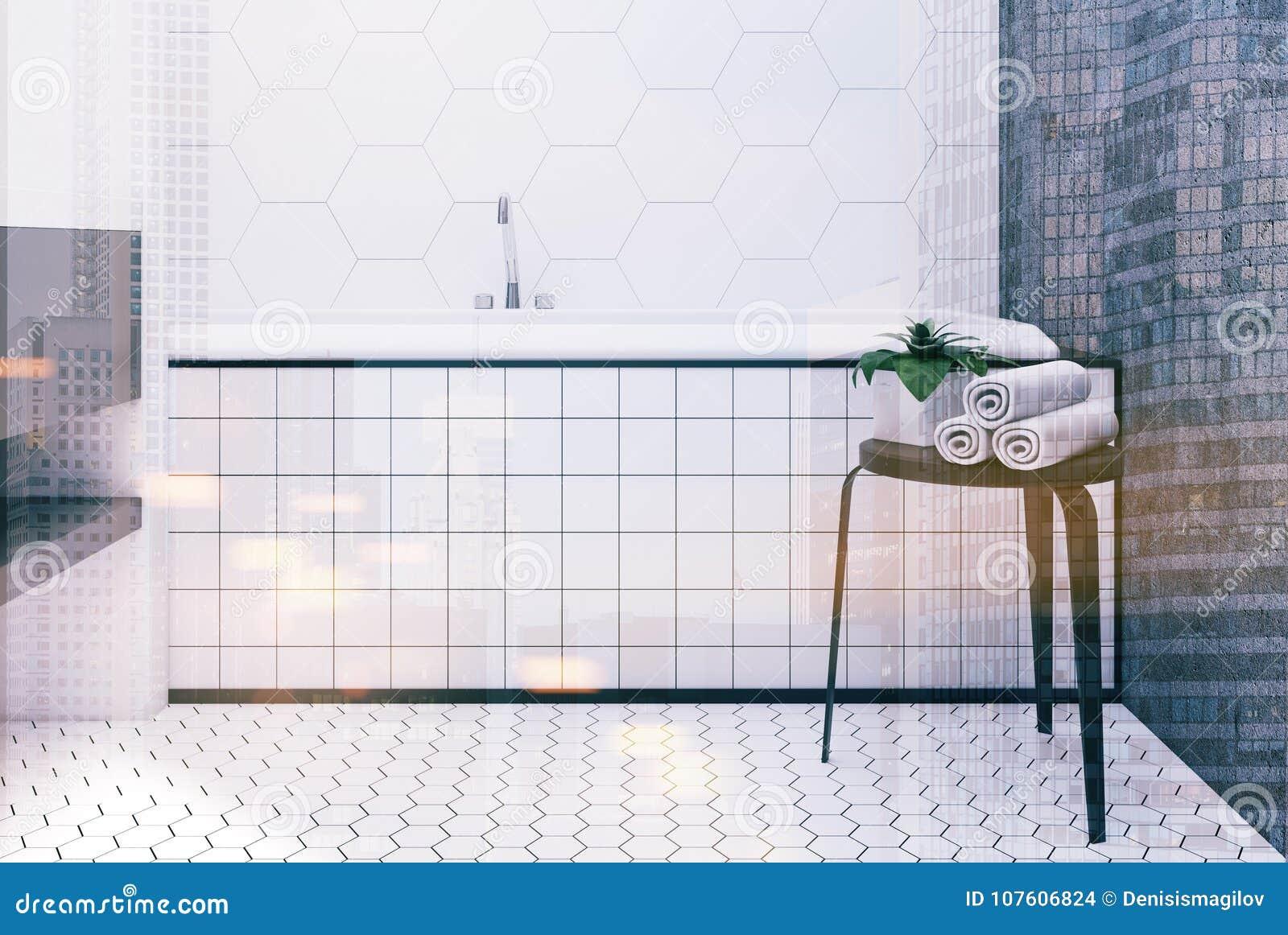Hexagon Tile Bathroom, Tub Close Up Toned Stock Illustration ...